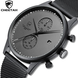 CHEETAH Brand Watch Men Stainless Steel Waterproof Quartz Wristwatch Men's Chronograph Sport Watches Business Date Clock reloj