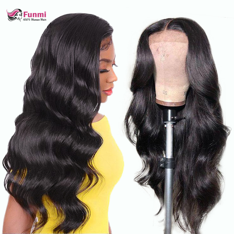 Funmi Hair Body Wave Lace Front Wigs For Women Malaysian 150% 180% 250% Density Straight Lace Front Human Hair Wigs Pre-Plucked