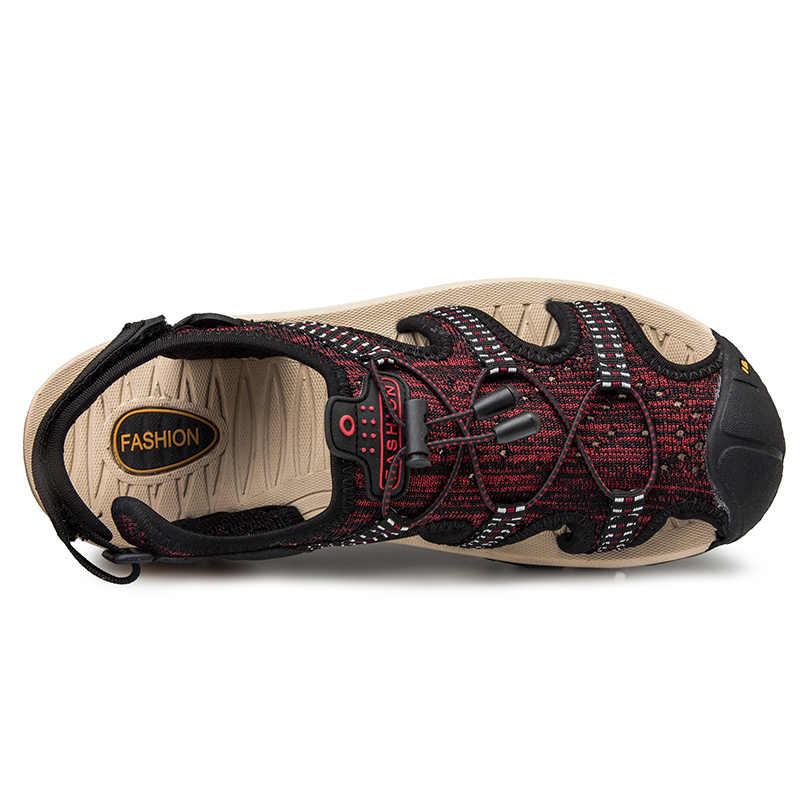 الرجال الصنادل جديد الصيف صنادل مماشي للموضة النعال تنفس الذكور أحذية صنادل شاطئ رجل الموضة في الهواء الطلق حذاء كاجوال حجم كبير