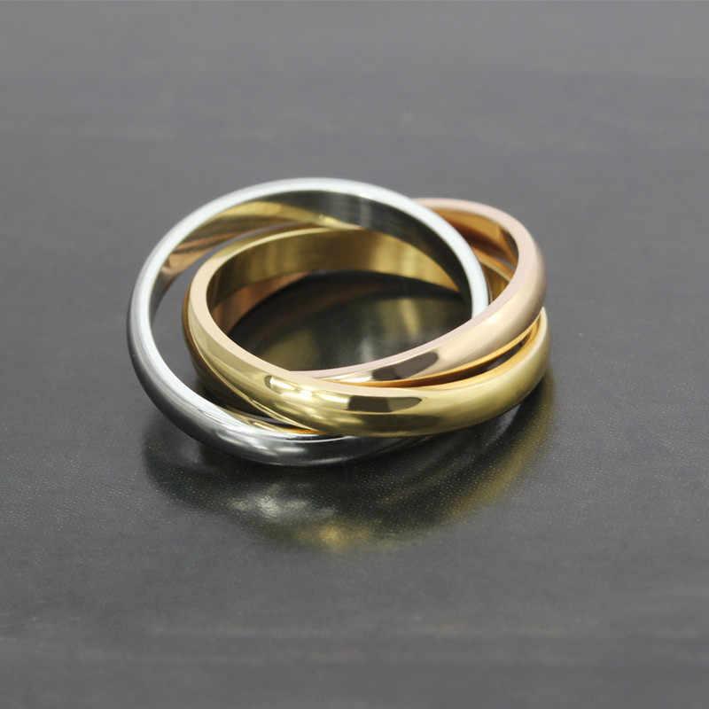 ZORCVENS Классические 3 Круги кольца наборы для женщин из нержавеющей стали Свадебные обручальные женские украшения для пальцев