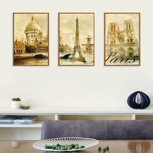 Retro European Vintage Architecture Oil Painting Family Decoration Frameless Canvas Wall Art Mural Paint By Numbers Paris Castle(China)