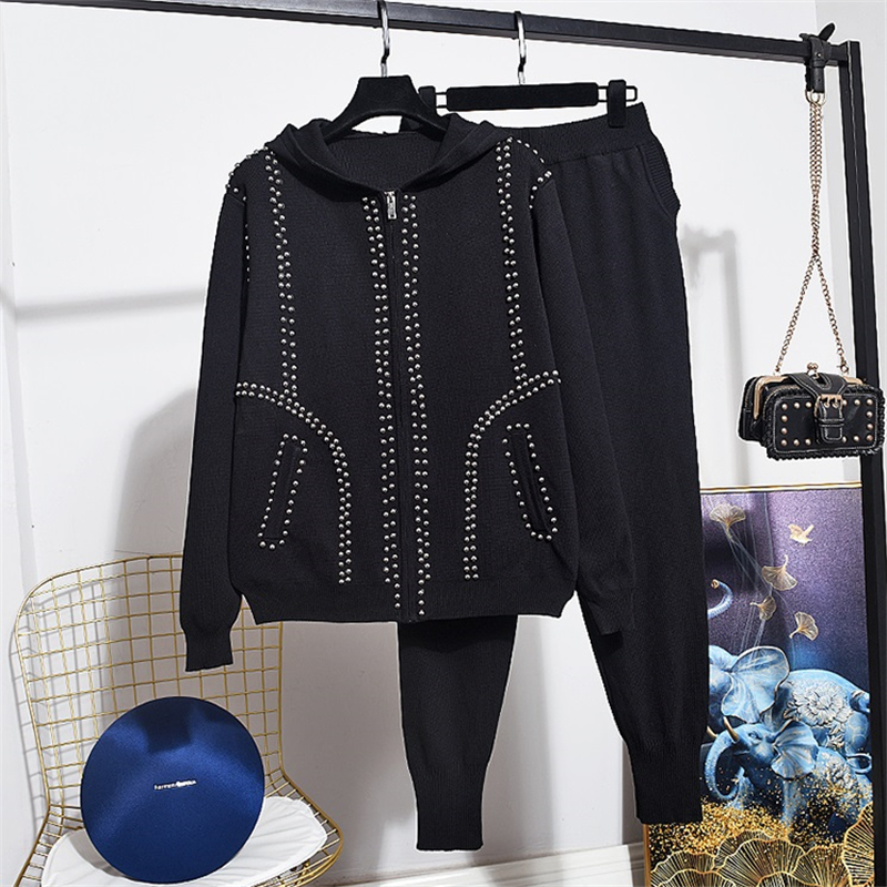 New Spring Autumn Women Fashion Beaded Hooded Long Sleeve Knitted Cardigan Sweater + Casual Long Pants Ladies 2 Piece Tracksuit