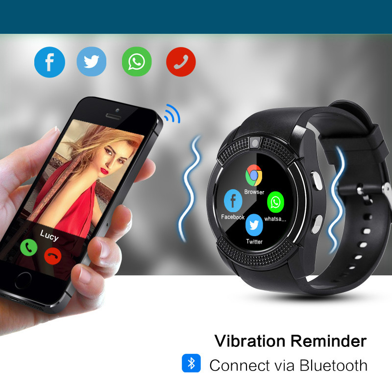 V8 Smart Watch Bluetooth Touch Screen For Android Fashion Sports Men And Women Smartwatch With Camera SIM Card Slot Watch 2g