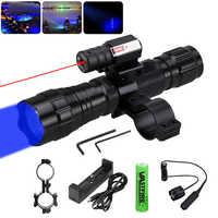 Táctico 1 modo de Q5 LED WF-501B azul linterna para arma pistola de luz + interruptor Remoto + Montaje del visor del Rifle + 18650 + cargador USB