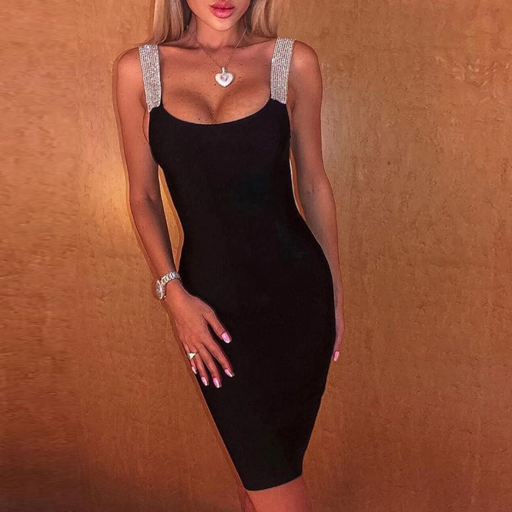 2020 Summer Women Bodycon Midi Dress Sequins Strap Sleeveless Backless Elegant Party Dress Sexy Ladies Club Clothes vestido D30