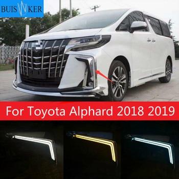 1Pair LED Daytime Running Light For Toyota Alphard 2018 2019 Yellow Turn Signal Relay Waterproof 12V DRL Fog Lamp