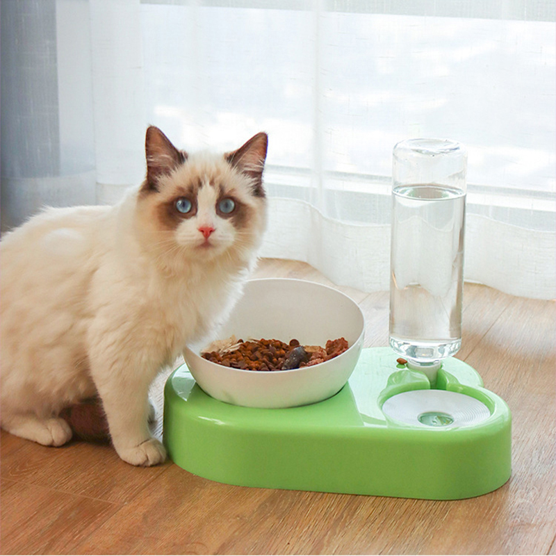 Pet Double Bowls For Dogs Cats Automatic Water Dispenser Dog Feeder Cat Dish Protection Cervical Pets Feeding Drinking Bowls
