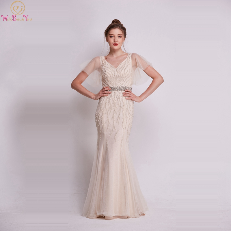 Champagne Luxury Mermaid Evening Dresses 2019 Elegant Short Sheer Sleeve Long Robe De Femme Beaded Crystal Sashes Evening Gowns