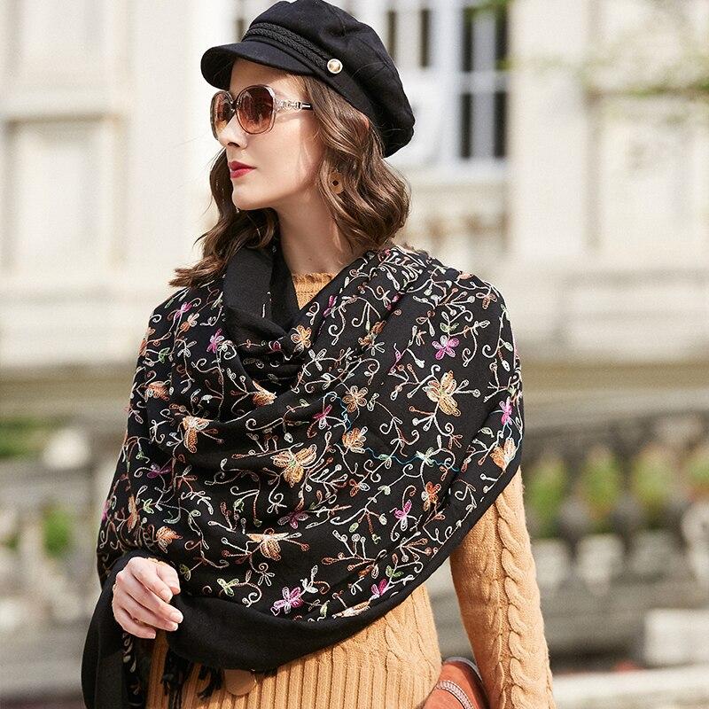 Image 2 - Wool Women Scarves Stoles Elegant Carf Warm Shawl Bandana Scarf  Luxury Brand Muslim Hijab Beach Blanket Face Shield FoulardWomens  Scarves