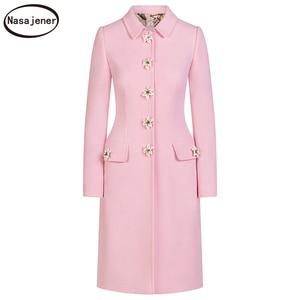Image 5 - 2019 New Autumn Elegant  Celebrity Temperament Slim Cotton  Button Long Sleeve Temperament Trench Coat