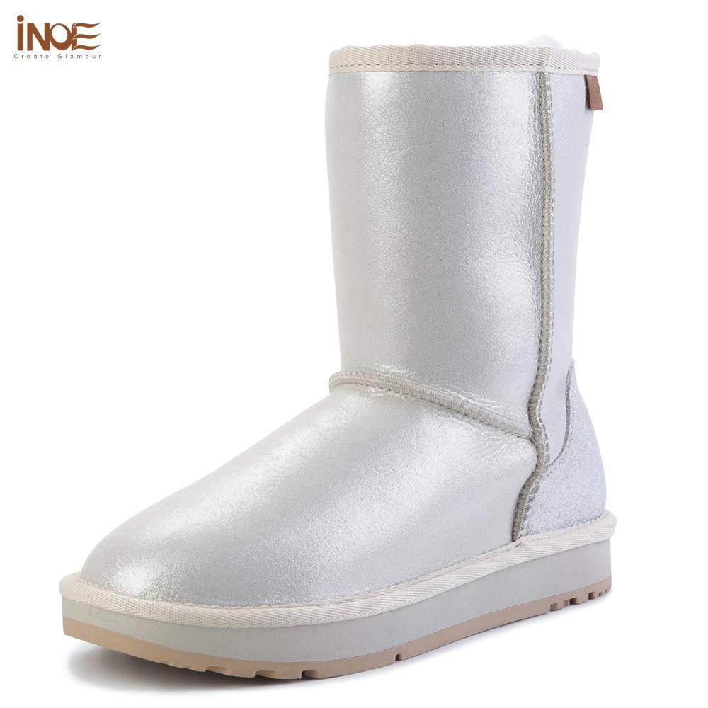 INOE New Sheepskin Leather Natural Sheep Fur Lined White Snow Boots for Women Winter Boots Waterproof Warm Shoes High Quality image