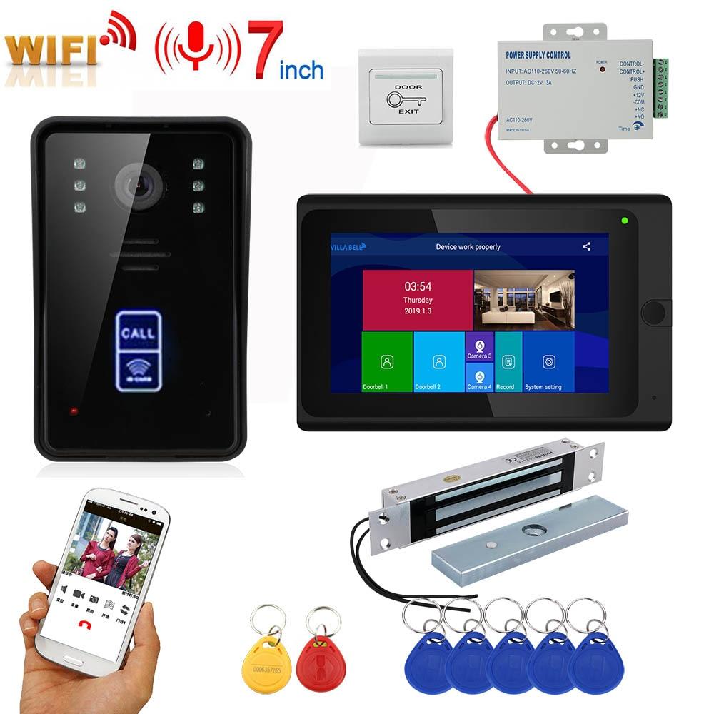 7inch Wireless Wifi RFID Video Door Phone Doorbell Intercom Entry System With 280kg Mortise Mount Door Magnetic Lock 1080P