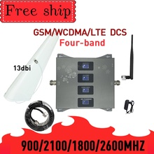 GSM WCDMA LTE DCS 900/1800/2100/2600mhz ארבעה להקת טלפון סלולרי מגבר אות 2G 3G 4G 70dB רווח נייד נייד איתותים משחזר