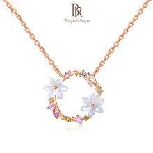 Bague Ringen Trendy naprawdę twarde srebro 925 naszyjnik dla kobiet srebro 925 biżuteria kwiat perłowy Garland delikatny kobiecy prezent lato