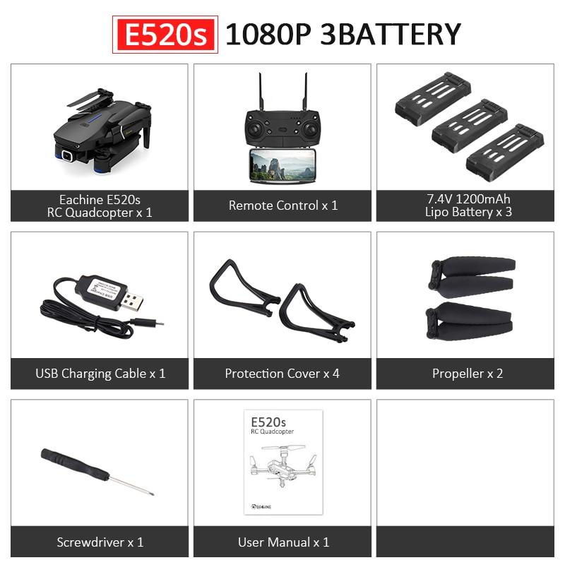 Eachine E520S E520 gps FOLLOW ME wifi FPV Квадрокоптер с 4 K/1080 P HD широкоугольная камера Складная Высота удержания прочный Радиоуправляемый Дрон - Цвет: E520S 1080P 3B