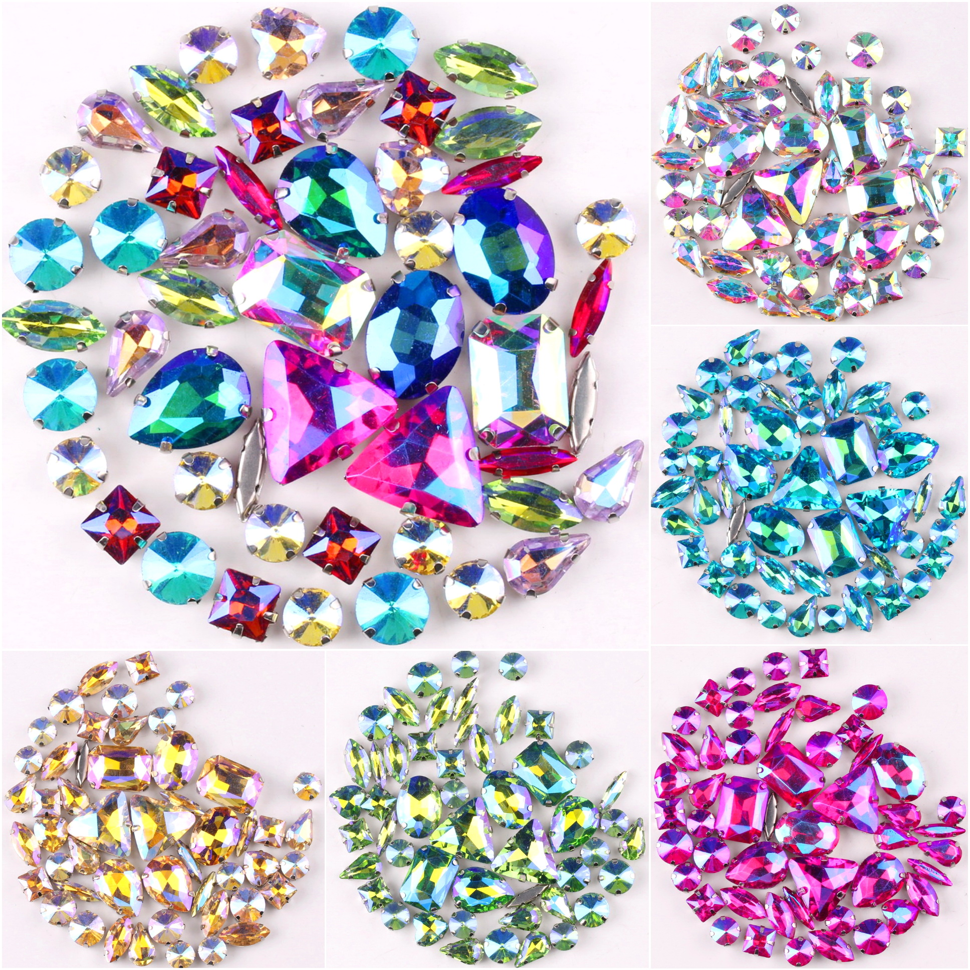 Серебряный коготь Установка 50 шт./пакет 11 формы смешивать с плоским основанием АВ цвета стеклянные хрустальные стразы для шитья кристаллам...