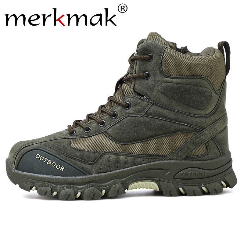 Merkmak New Winter Men Boots Ankle Rubber Military Combat Boots Men Sneakers Casual Shoes Outdoor Work Safety Boots Man