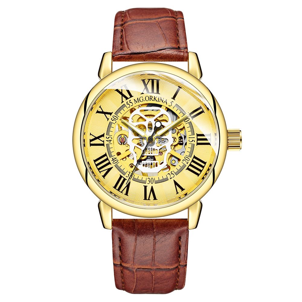 Fashion Men\'s Automatic Mechanical Watches Luminous Golden Skeleton Open Work Mens Automatic Wristwatch Top Brand Luxury Clock