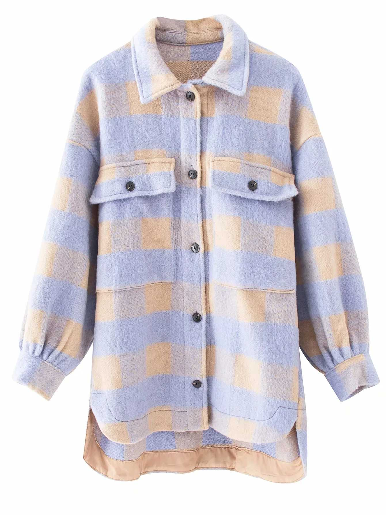 Women 2020 Fashion Overshirts Oversized Checked Woolen Jacket Coat Vintage Pocket Asymmetric Female Outerwear Chic Tops
