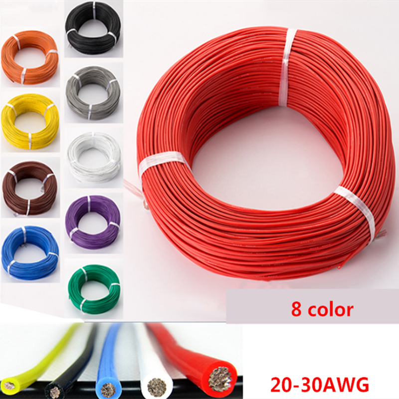 50metre 20 22 24 26 28 30 <font><b>AWG</b></font> Silicone <font><b>Wire</b></font> Ultra Flexiable Test Line Cable High Temperature image