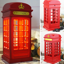 2019 Portable Retro London Telephone Booth  USB Night Light Rechargeable Table Lamp For  Home Bedroom New Year Decor