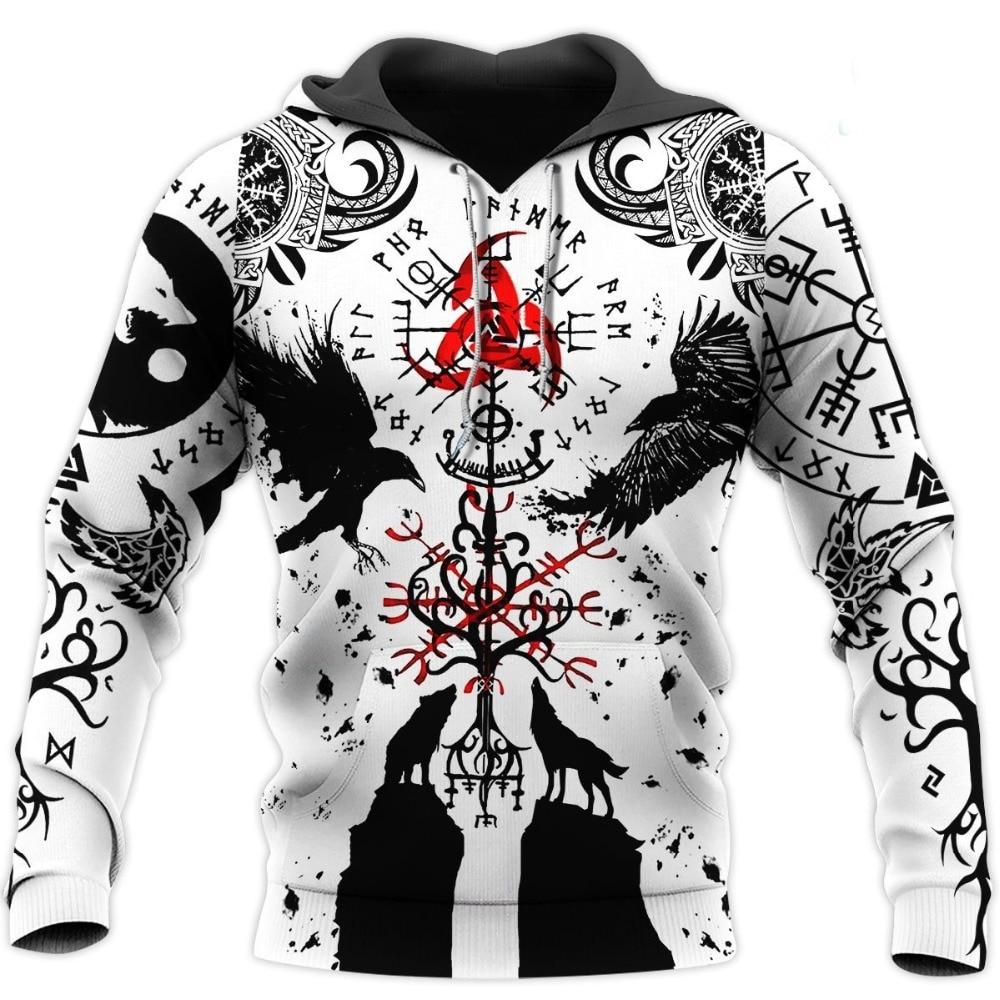 PLstar Cosmos crazy pattern warrior Viking Tattoo 3D Printed Men hoodies Harajuku Hooded Sweatshirt Autumn Fashion hoodie top-24
