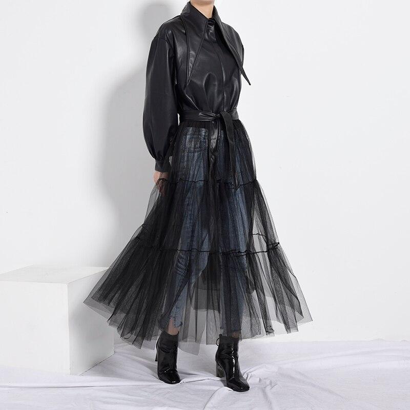 [EAM] Loose Fit Black Mesh Big Size Long Pu Leather Jacket New Lapel Long Sleeve Women Coat Fashion Spring Autumn 2020 PB27901 2