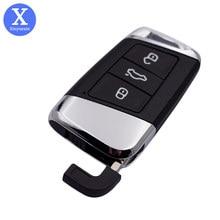 Xinyuexin remoto chave do carro escudo apto para vw magotan passat b8 cc skoda superb a7 3 botão inteligente keyless enter chave de substituição do escudo