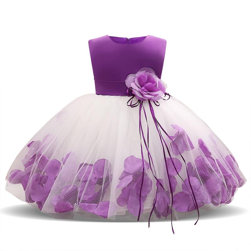 Crianças infantil menina flor pétalas vestido crianças dama de honra da criança vestido elegante infantil formal vestido de festa roupas do bebê