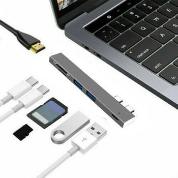 5 in1 podwójny USB C type-c HUB na typ C USB 3 0 SD czytnik TF Adapter dla MacBook tanie i dobre opinie Phineli Zewnętrzny CN (pochodzenie) Wszystko w 1 Wiele w 1 Karta SD Type C