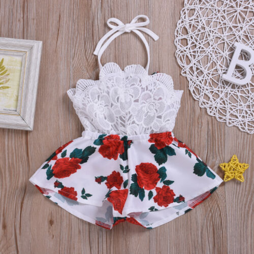 Pudcoco Summer Newborn Baby Girl Clothes Sleeveless Lace Flower Print Strap Romper Jumpsuit One-Piece Outfit Summer Clothes