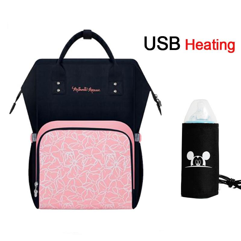 Disney USB Upphitun poki fyrir blöðrur Diaper bakpoki Stórt magn hjúkrunarferða Heat Preservation