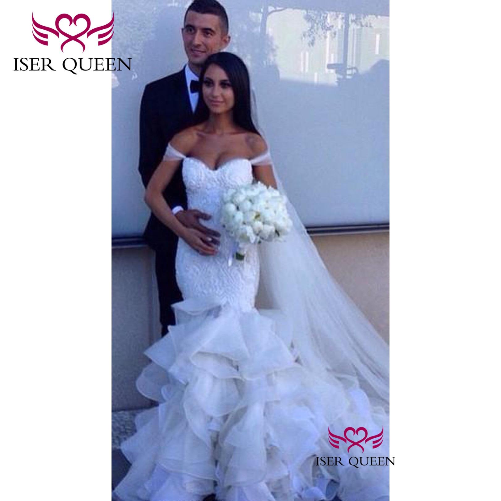 Cap Maniche Delicato Ricamo di Perle Sexy Sirena Abiti Da Sposa Organza del Treno Vestido De Casamento Praia W0322