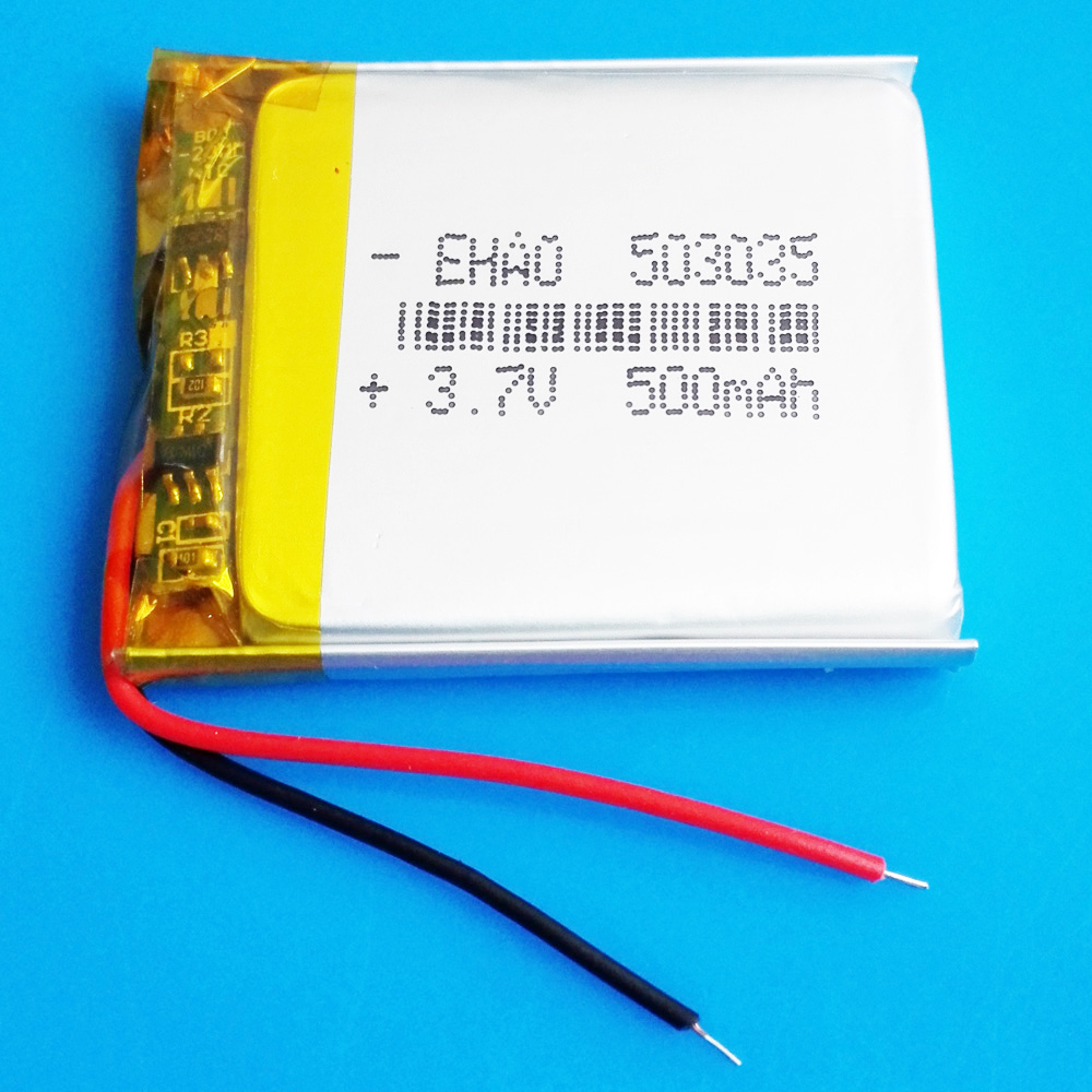 <font><b>3.7V</b></font> <font><b>500mAh</b></font> <font><b>503035</b></font> Lipo <font><b>battery</b></font> polymer lithium rechargeable <font><b>battery</b></font> for MP3 MP4 GPS DVD bluetooth recorder e-book camera image