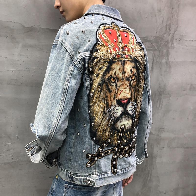 Men's Punk Denim Jackets Multi Rivets Lion Embroidery Denim Jackets Spring Autumn Coat For Male