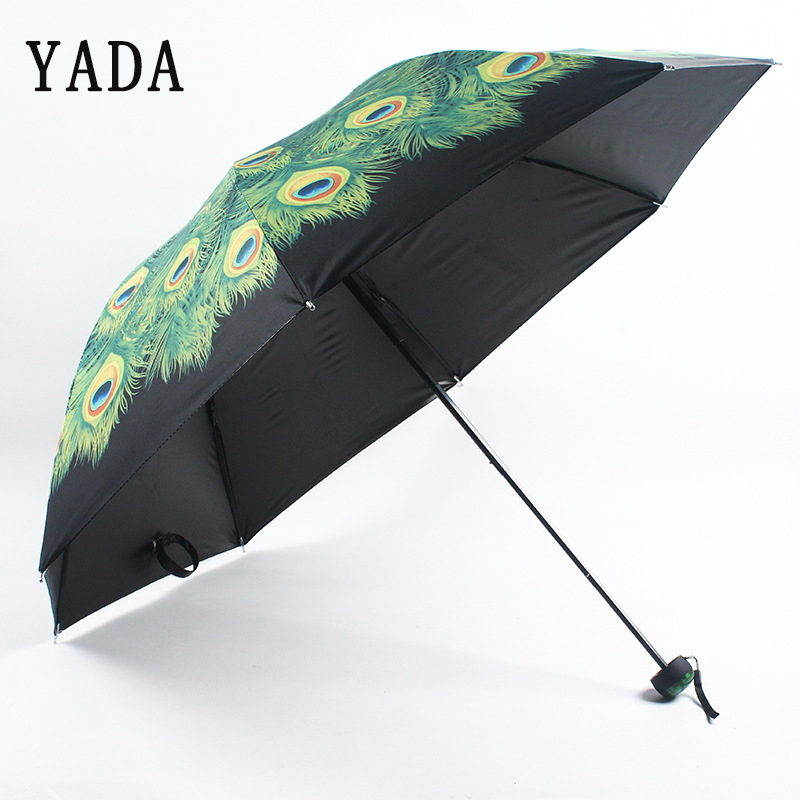 YADA Cartoon Peacock Feather Umbrella Folding Rainy Fruit Orange Umbrellas Anti-UV Girls Boys Lovely Animal Umbrella Gift YD240
