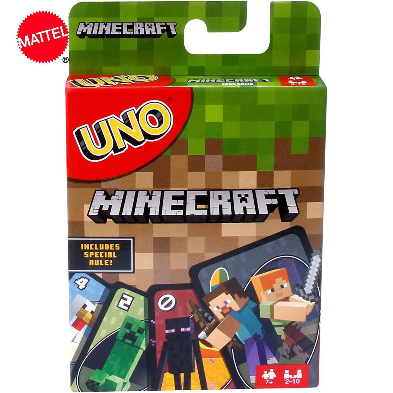 Маттел игры UNO Minecraft карточная игра Веселая многопользовательская игрушка дизайн платная Настольная Игра карточка семейные вечерние игруш...