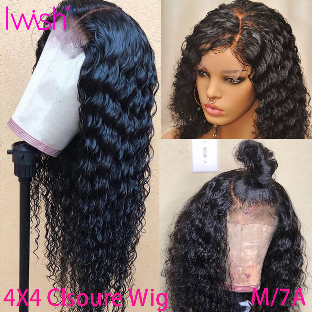 4x4 Curly Human Hair Wig 150% Remy Brazilian Lace Closure Wig Pre Plucked With Baby Hair Glueless Transparent Lace Wigs For Wome
