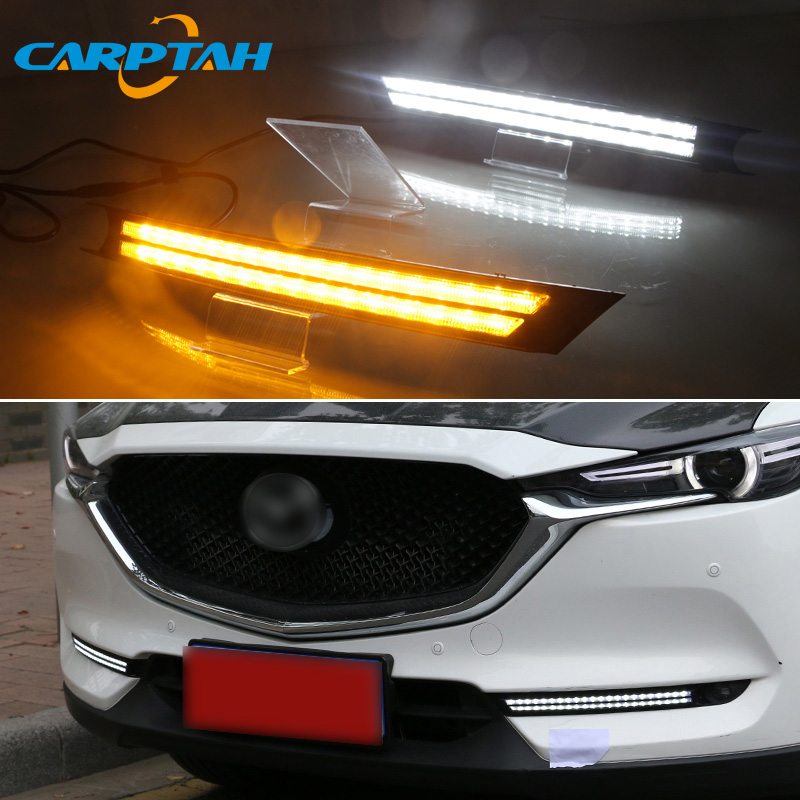 <font><b>LED</b></font> Daytime Running Light <font><b>For</b></font> <font><b>Mazda</b></font> <font><b>CX</b></font>-<font><b>5</b></font> CX5 2017 - <font><b>2019</b></font> Waterproof 12V Yellow Turn Signal Indicator Light Bumper Lamp <font><b>LED</b></font> DRL image