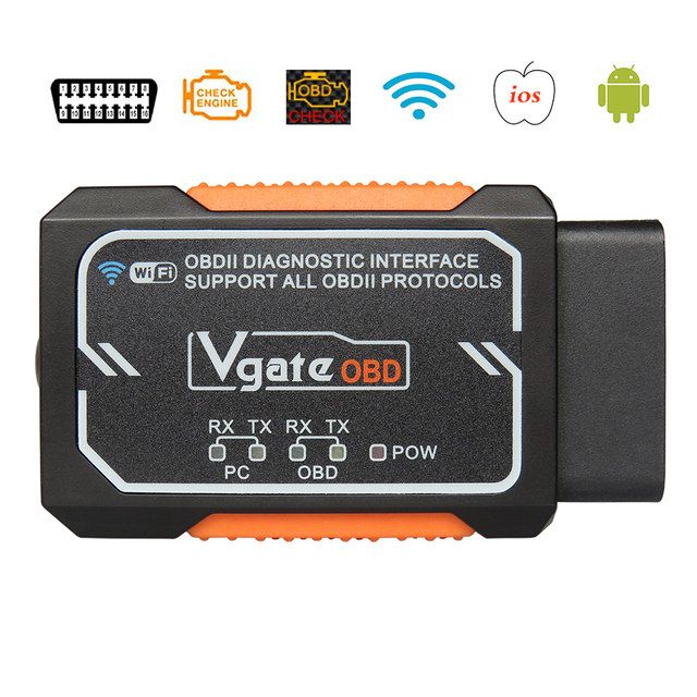 Vgate Elm327 WIFI Wireless OBD2 Auto Scanner  with chip PIC18F2480 Adapter diagnostic Scan Tool OBDII For ios android