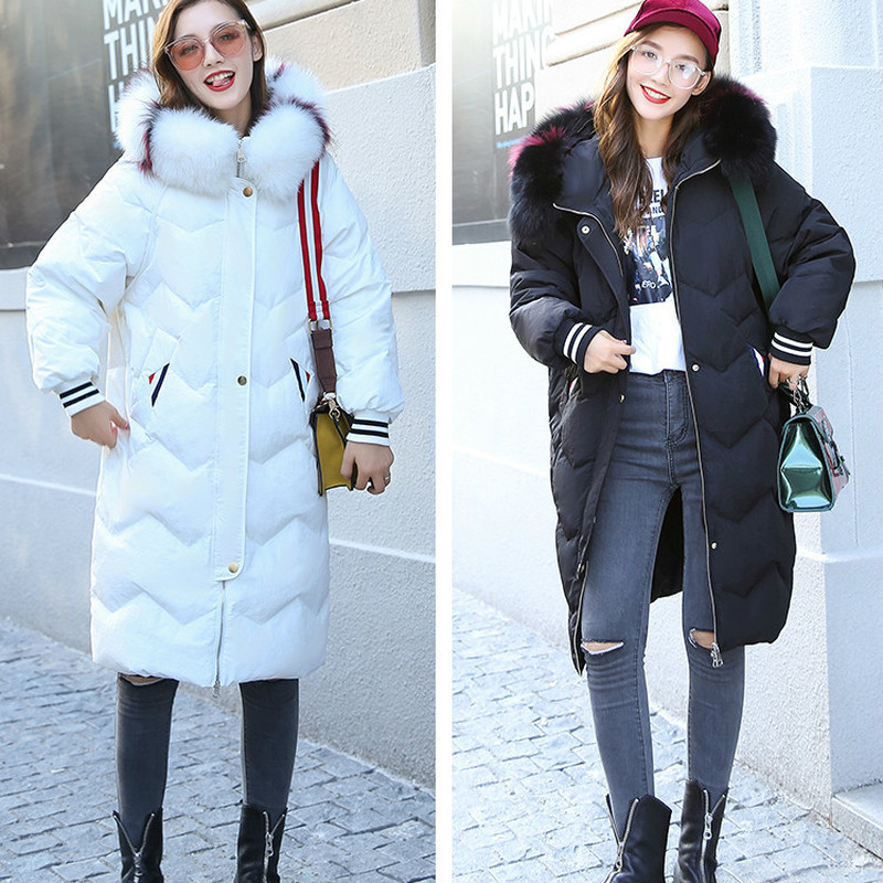 White Winter Duck Down Female Jacket Loose Fashion Multicolor Fox Fur Collar Parka Women's Clothing Camperas Mujer KJ452