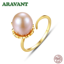 925 Sterling Silver Natural Pearl Rings For Women 9-10MM Freshwater Pearl Ring Adjustable