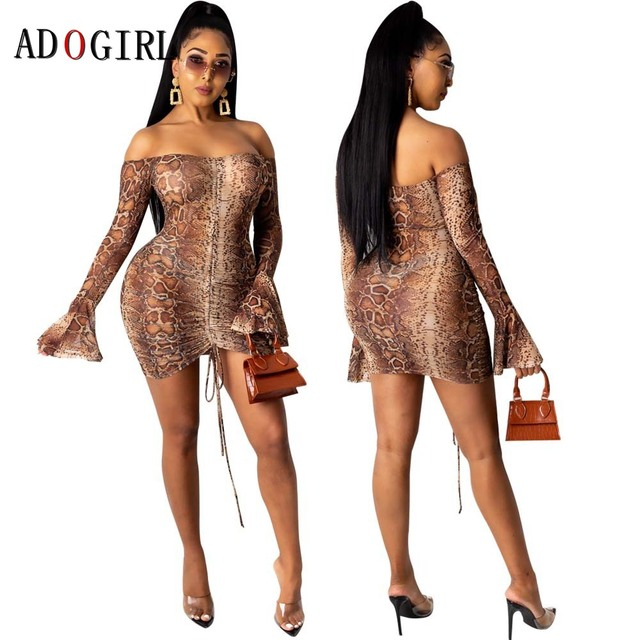 Adogirl Snake Print Long Sleeve Dress Women Evening Party Night Dresses Sexy See Through Drawstring Bodycon Slim Mini Dress 4