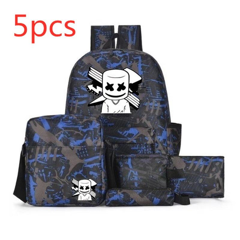 Newest 5PCS DJ Smiley Face Pencil Case Shoulder Bag Purse Backpack Marshmallow Kids School Bag Travel Bags Notebook Backpack