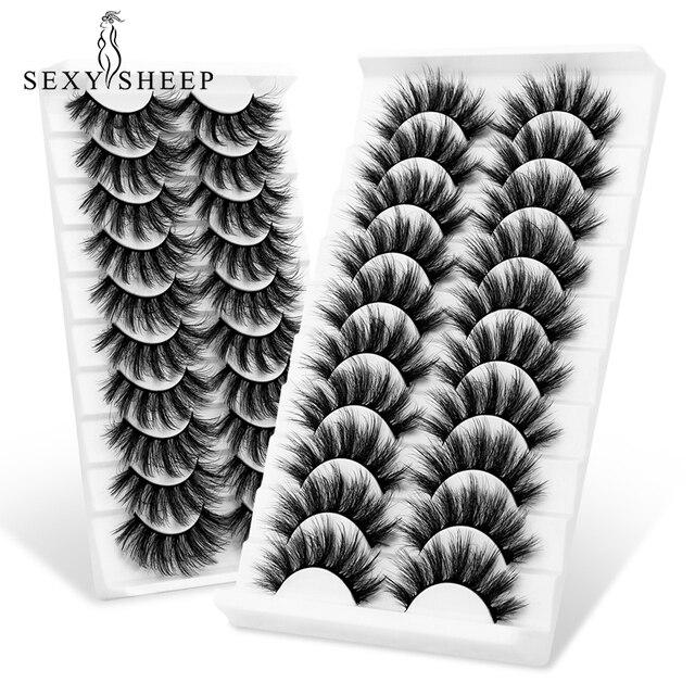 SEXYSHEEP 5/10 pair 3D Faux Mink Lashes Natural length Ru False Eyelashes Volume Fake Lashes Makeup Extension Eyelashes 6