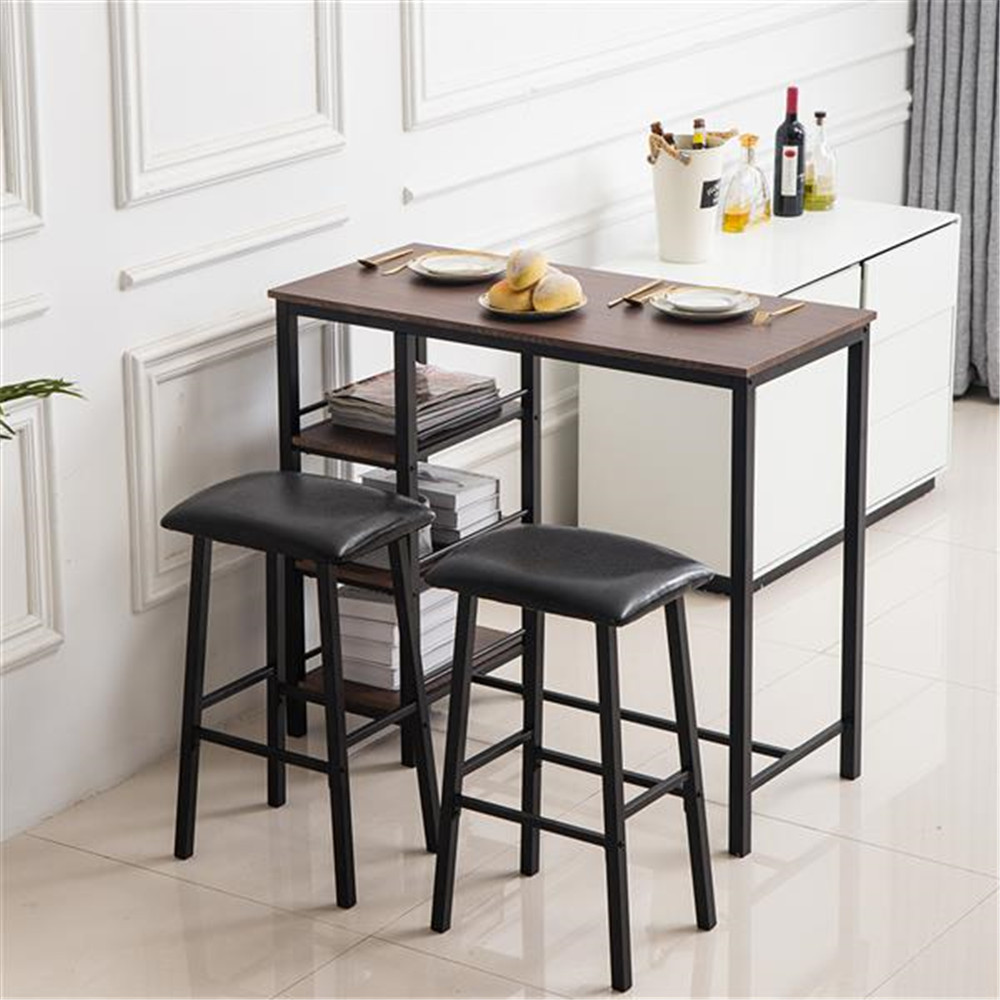 PVC Wood Grain Three-Layer Frame Couple Bar Table Soft Bag Bar Stool (One Table And Two Stools) Suitable Table Set For Office