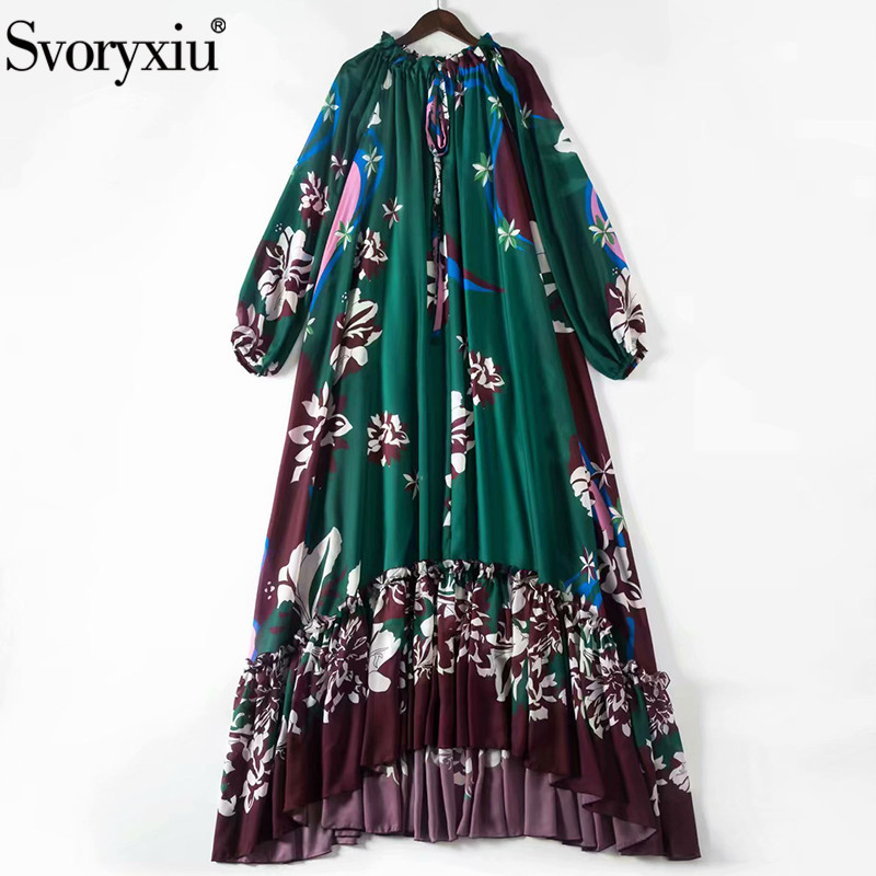 Svoryxiu Runway Custom Summer Loose Plus Size Maxi Dress Women's Long Sleeve Robe Flower Print Ruffles Elegant Party Maxi Dress