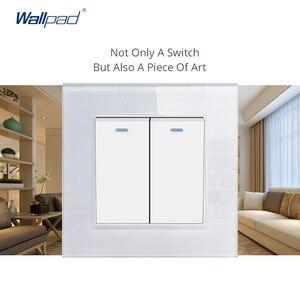 Image 5 - Wallpad קריסטל מזג לבן זכוכית פנל 16A האיחוד האירופי 110V 240V האיחוד האירופי כפול קיר שקע 172*86MM גודל