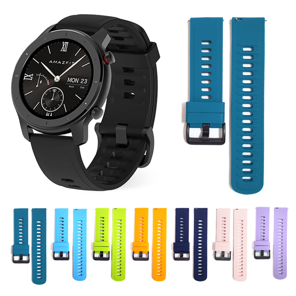 Watchband For Xiaomi Huami Amazfit Smart Watch Silicone Wrist Strap Band For Amazfit Bip GTR 47mm 42mm GTS Pace Stratos Bracelet