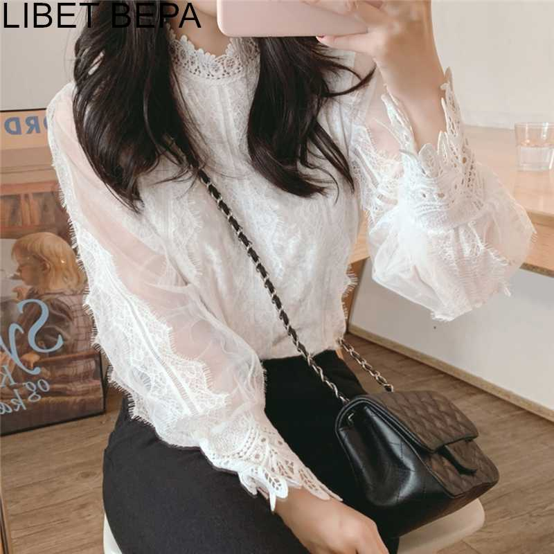 New 2019 Fall Spring Women's Blouses Casual Shirts Clothing Tunika Transparent Pagoda Sleeve Chiffon Lace Up Sweet Tops BL3073